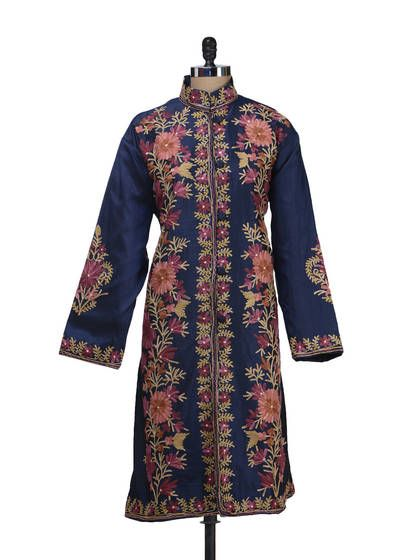 embroidered coats | Navy Blue Embroidered Silk Coat