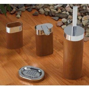 Badezimmer Accessoires Aus Eiche. Hochwertig Verarbeitetes 4   Teiliges Bad   Accessoires Set.