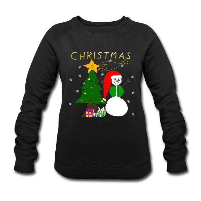 Christmas Weihnachten Schneemann Weihnachtsbaum Frauen Bio Sweatshirt Von Stanley Stella Mit Bildern Sweatshirt Pullover Shirts