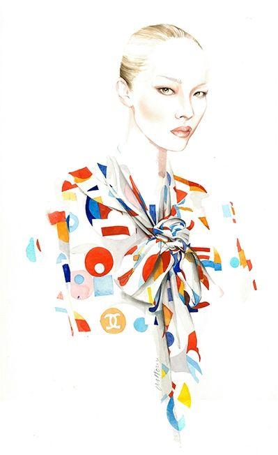 CHANEL Fall Winter 14 fashion illustration by Antonio Soares