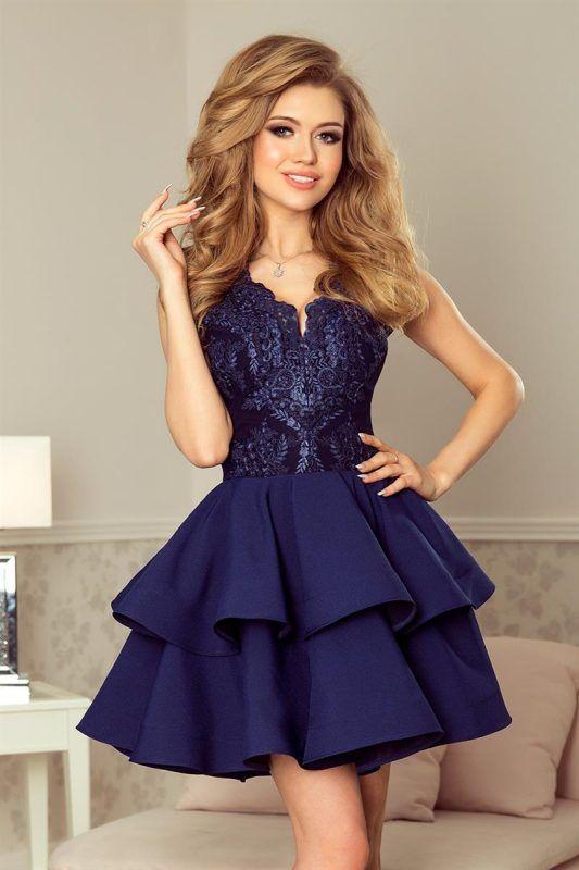 8f8745d803 Granatowa sukienka na wesele z koronkową górą    sukienki na wesele ...