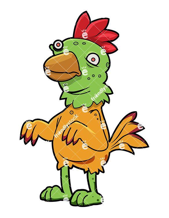 Funny Zombie Chicken Cartoon Clipart Vector Friendlystock Cartoon Clip Art Character Art Zombie Cartoon
