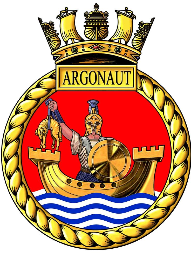 HMS Argonaut (C61) Ship's Crest Heraldic Data Badge: On a Field Red, upon water in base barry wavy White and Blue, a Lymphad Gold, therein a demi Greek warrior in armour Gold, holding in the dexter hand a fleece also Gold and in the sinister hand his shield also Gold. Motto Audax omnia perpeti: 'Bold to endure' or 'Boldness endures anything' Battle Honours ARCTIC 1942 - NORTH AFRICA 1942 - MEDITERRANEAN 1942 - NORMANDY 1944 - SOUTH FRANCE 1944 - AEGEAN 1944 - OKINAWA 1945