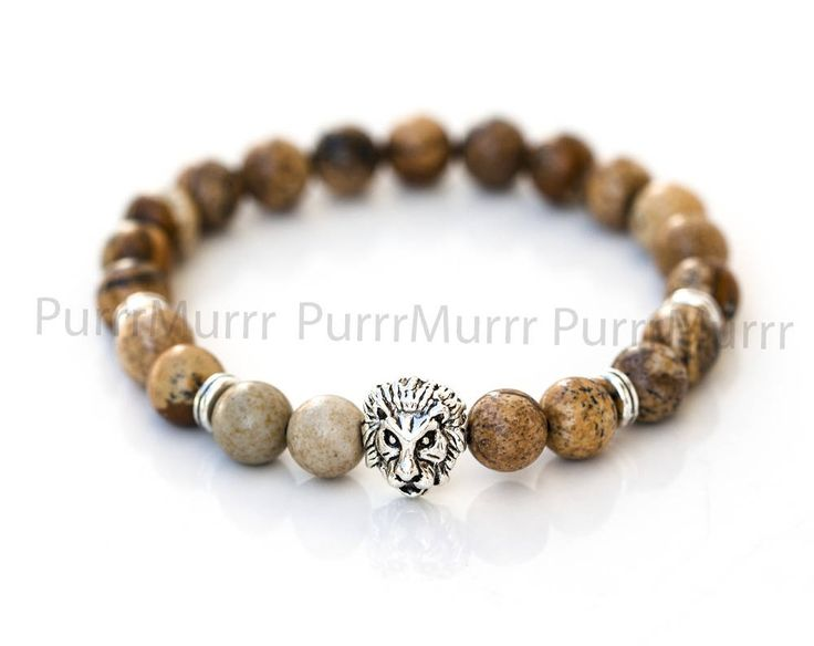 2582_Picture jasper bracelet for him 8mm, Lion beaded jewelry, Brown bracelet, Mens stone bracelet, Elastic silver bracelet, Gift men_1 pc. by PurrrMurrr on Etsy
