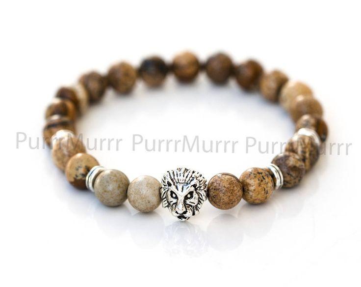 2582_Picture jasper bracelet for him 8mm, Lion beaded jewelry, Brown bracelet, Mens stone bracelet, Elastic silver bracelet, Gift men_1 pc. by PurrrMurrr on Etsy