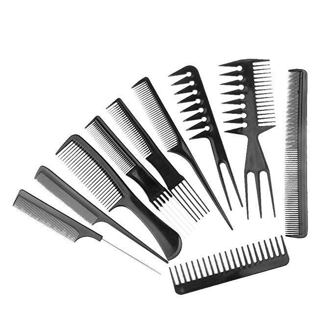 Salon Barbers Hairdressing Brush Combs Hair Styling Cosmetic Set 10 Pcs Brush Barbers Salon Styling Cosmeti Kosmeticheskie Tovary Uhod Za Volosami Rascheska