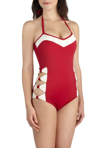 Ties On My Side One Piece by What Katie Did - Red, Solid, Bows, Cutout, Ruching, Beach/Resort, Nautical, Rockabilly, Pinup, Vintage Inspired, 40s, 50s, Colorblocking, Halter, White, Summer