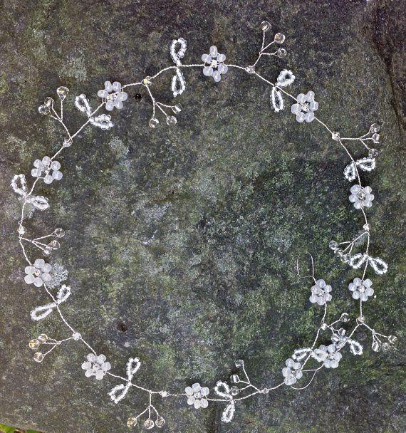 13inch Wedding Hair vine with diamanté floral by RaindropsonRosesx, $20.00