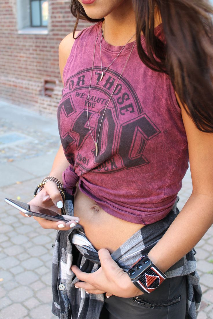Details / 8.26.15 // ACDC t-shirt from Target + Faux leather moto pants from H & M + various bracelets and bangles   www.5oclocksunday.com