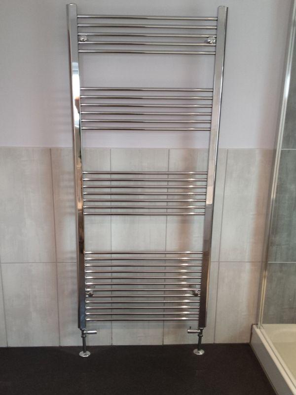 Chrome Towel Radiator in a bathroom installation