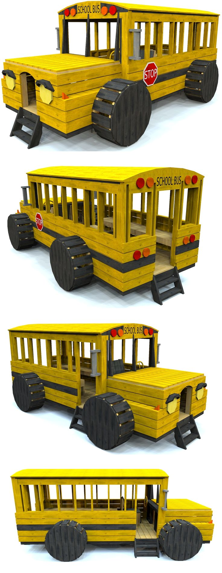 The Classic yellow school bus, now it wood form!  Perfect for kids aged 3-9. Download the blueprints from paulsplayhouses.com