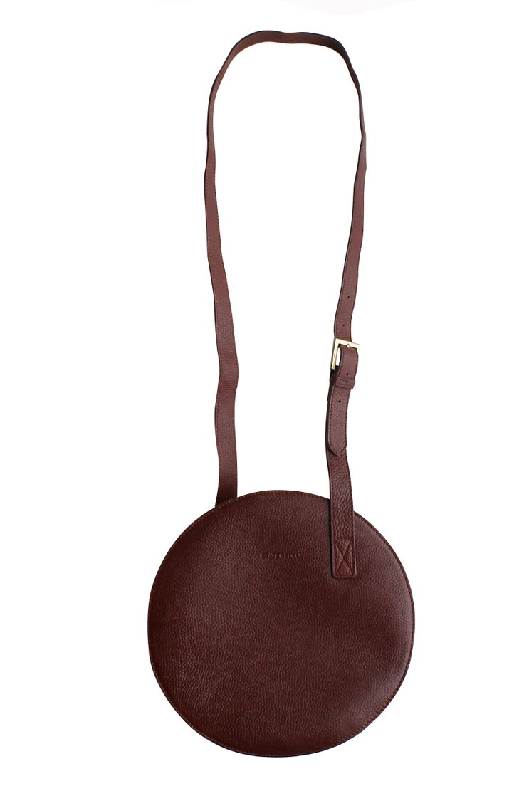 Circle Dark Tan Tumble Leather Bag