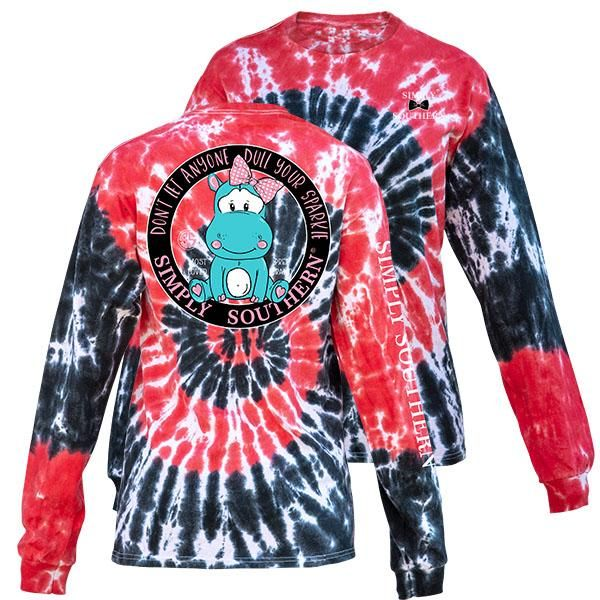 f197cf805e3973 Simply Southern Dull Your Sparkle Hurricane TieDye Pattern Long Sleeve T- Shirt Available in sizes- Adult S
