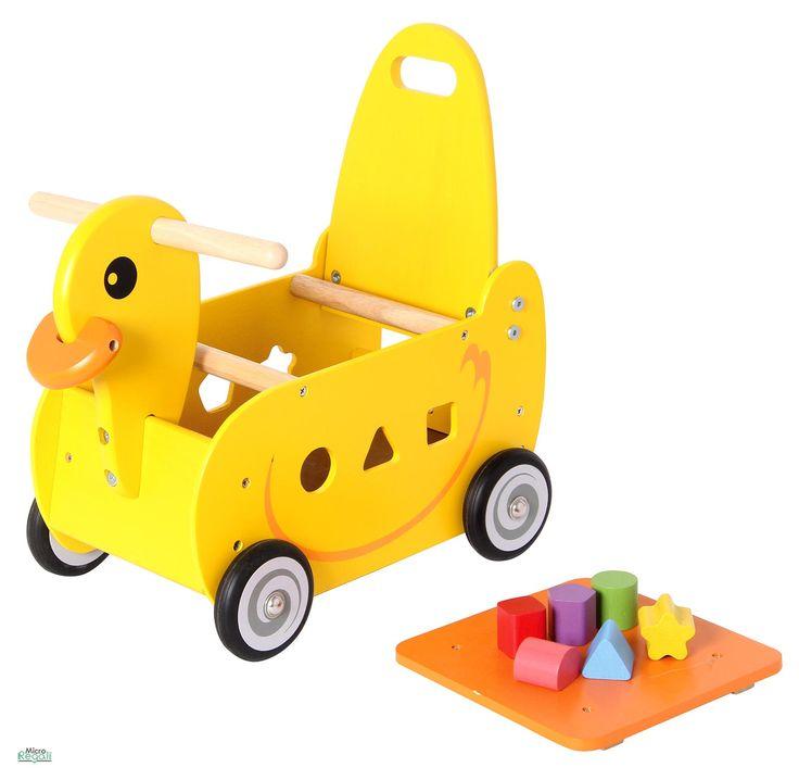 CARRELLINO CAVALCABILE in Legno ANATROCCOLO cm 39x24x42 h - Seduta cm 20 h per bambini. Primi Passi. I'm Toy.