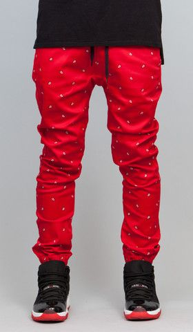 Red Paisley Drop Crotch Jogger   HYPER DENIM