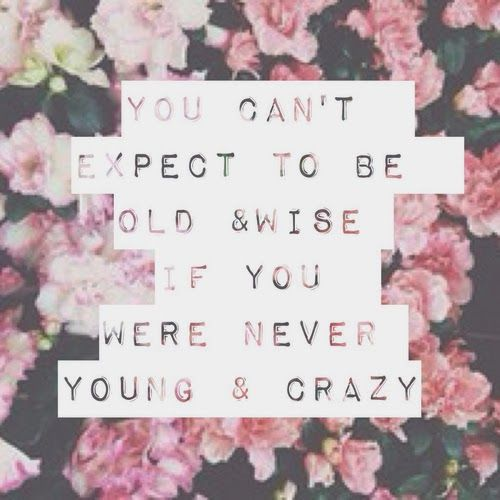 Photoshop / font / You can't expect to be old & wise if you were never young & crazy / quote