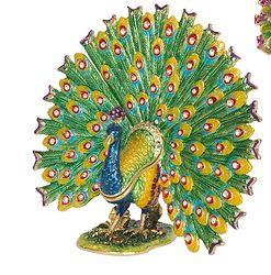 "PeacockPeacock   Peacock made of pewter, enamel, Swarovski crystals  5.0"" x 1.25"" x 4.0"" 6oz.  $60.00"