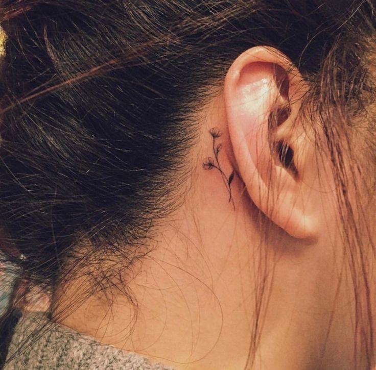 Motivos pequenos da tatuagem atrás da orelha para mulheres – ideias legais e diversas …   – Tattoo 2019