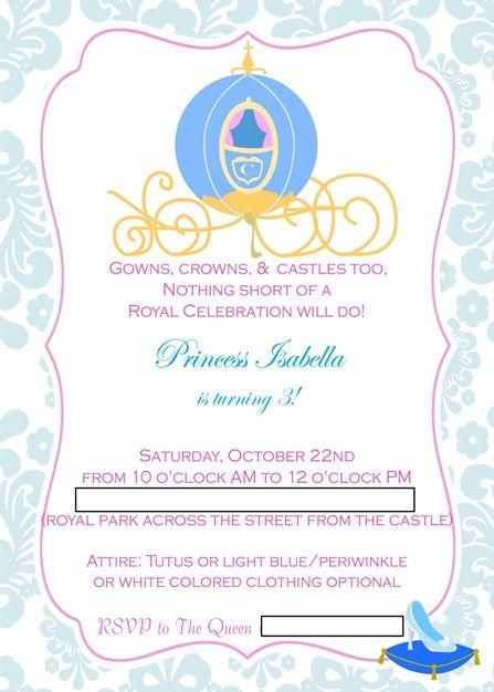 Cinderella party : Bella's invitation