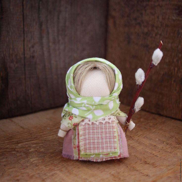 """Купить Народная русская куколка """"Весенняя"""" - комбинированный, народная кукла, Пасха, верба, весна, лён"""