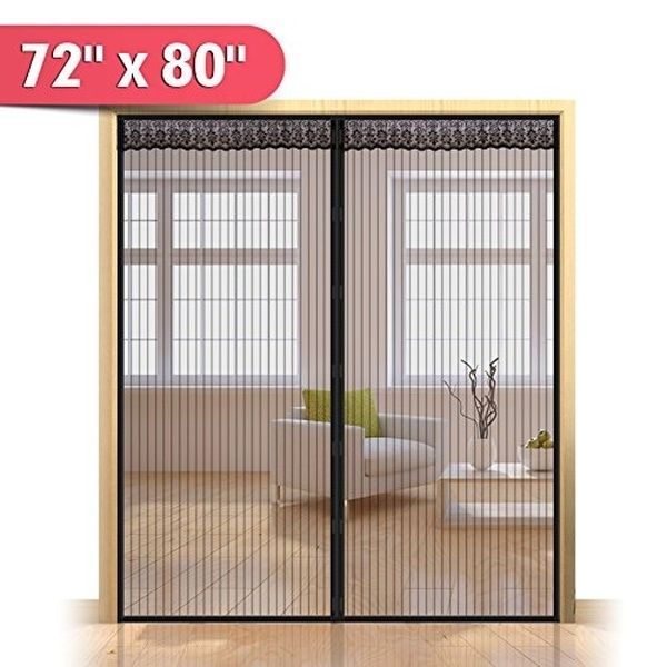 72 W X 80 H Hands Free Magnetic Screen Door For French Doors