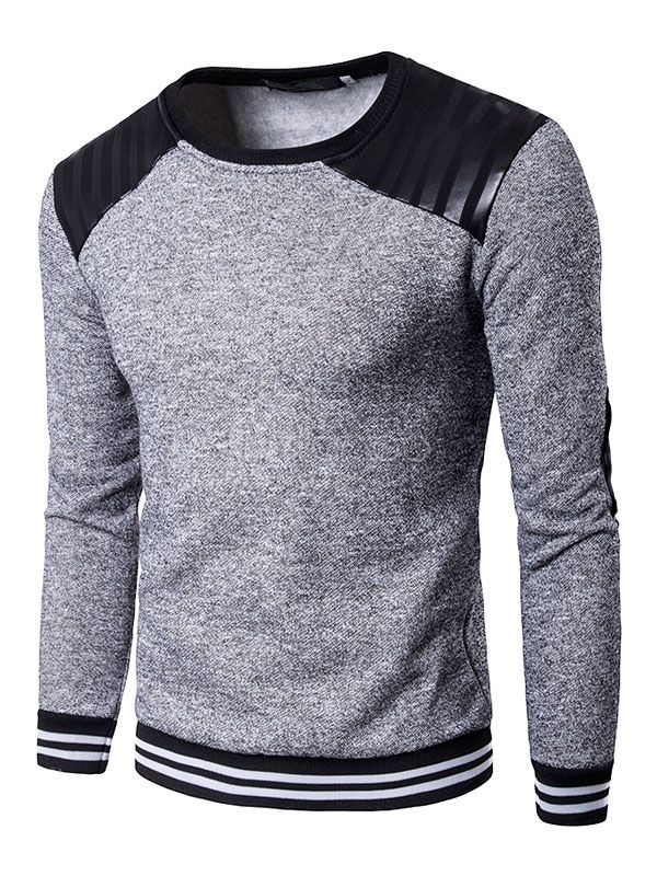 Sudadera con capucha de algodón mezclado con escote redondo con dibujo retazados estilo informal