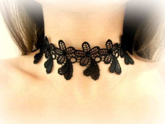 Black lace choker black floral lace necklace by MalinaCapricciosa