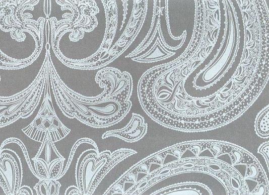 Malabar Wallpaper Light blue on grey Indian paisley design wallpaper