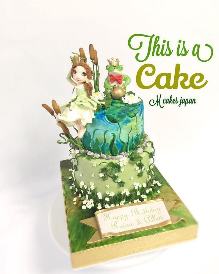 プリンセス&フロッグがテーマのケーキ お母様のデザインをケーキで再現させていただきました✨ #プリンセス #フロッグ #テーマ #デザイン #誕生日ケーキ #沼地 #cake #kids #2段ケーキ