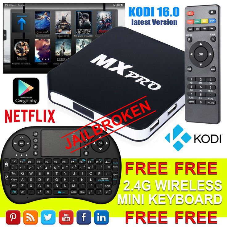 Android MX Pro TV Box Fully Loaded Quad Core 4.4 KODI (XBMC) Free Sports Movies