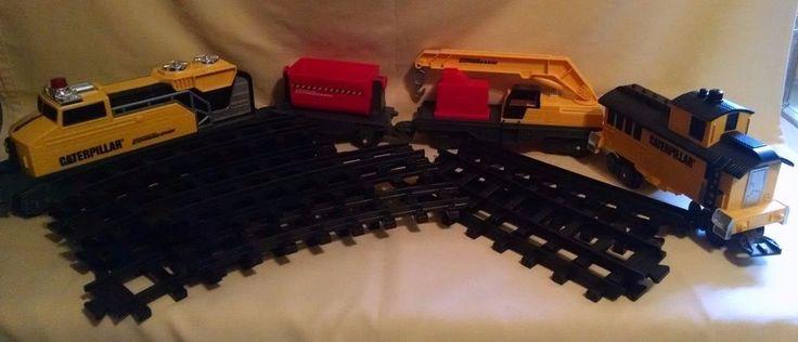 CATERPILLAR TRAIN SET LOCOMOTIVE CABOOSE TIPPING CAR BOOM CRANE TOY STATE LOOSE  #ToyStateIndustrial