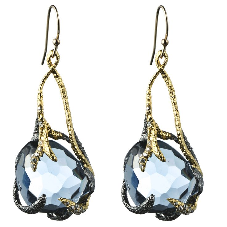 Siyabona Gunmetal Synthetic Blue Topaz Suspended Drop Earring :: Earrings :: Jewelry :: Alexis Bittar