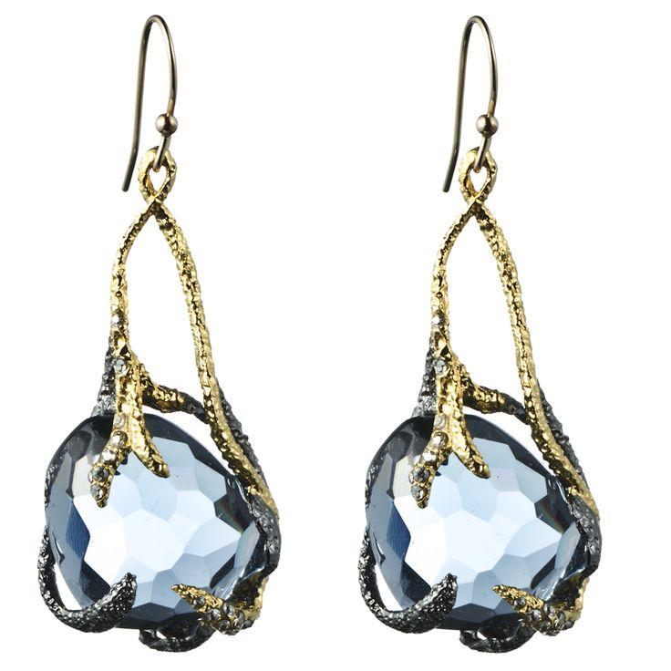 Siyabona Gunmetal Synthetic Blue Topaz Suspended Drop Earring::Earrings::Jewelry::Alexis Bittar