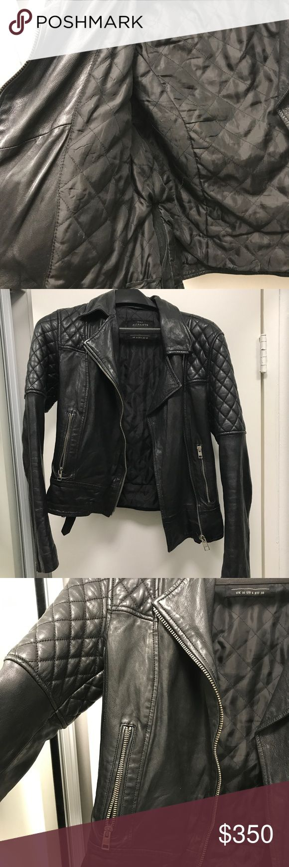 All saints black quilted 100% real leather jacket Quilted black leather jacket from All Saints Very soft like calf skin leather but exact type not defined  Absolutely no rips, spots, stains or damage on the outside leather or inside layer...besides a very small part at the bottom front (blends in-see last photo) little bit of ware and creasing like real leather normally gets  Very minimal tarnishing on the zippers as shown in photo and you can't notice it unless you're in very bright light…