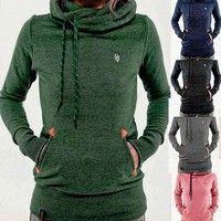 Wish | Women's Long Sleeve Heaps Collar Hooded Hoodies Draw Cord Pure Color Pocket Sport Coat Sweater Shirts Plus Size 5XL
