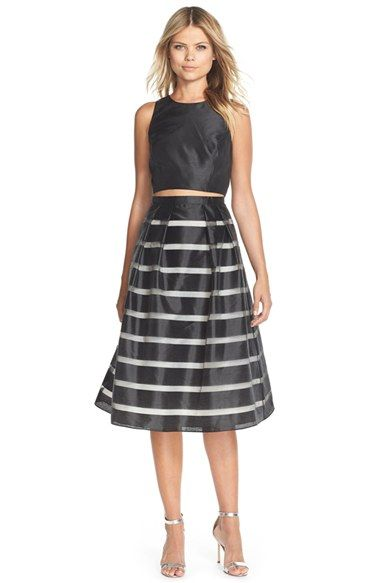 Free shipping and returns on Xscape Shadow Stripe Satin Two-Piece Dress at Nordstrom.com. This two-piece cocktail dress with mix-and-match versatility comes partially veiled in shadow-striped satin for airy fullness.