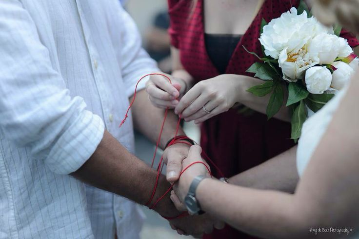Tying the knot!  Hand fasting ceremony.