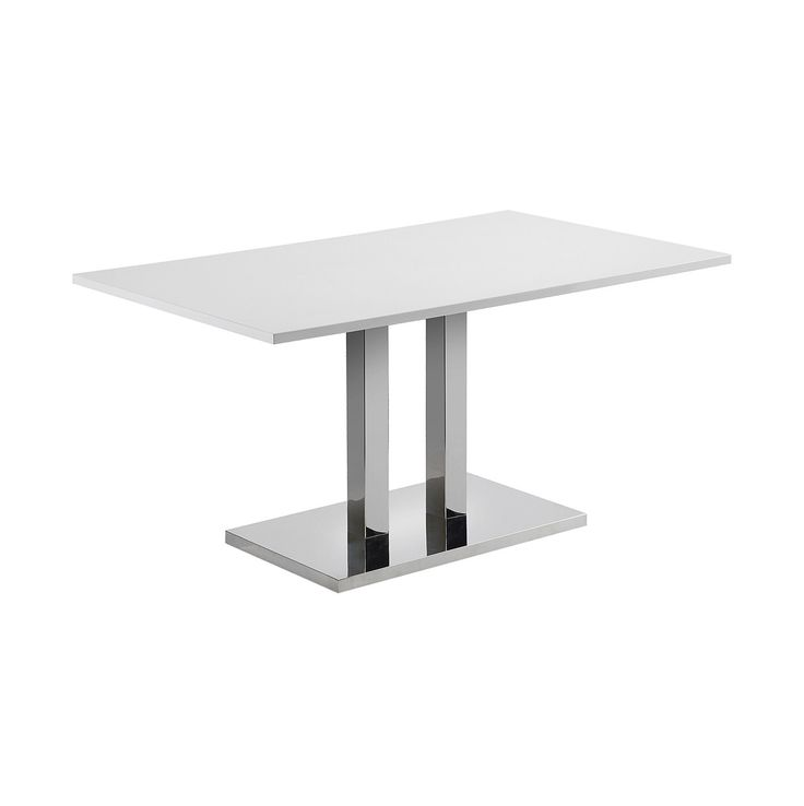 #Mesa con sobre de DM lacado #blanco brillo. Pies - base en #acero #inoxidable.