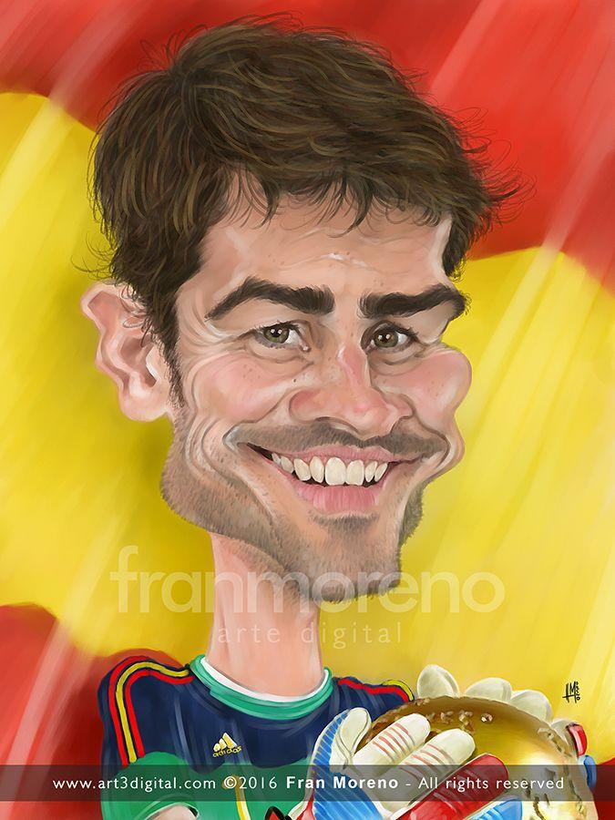 Caricatura del portero Iker Casillas - Arte Digital por Fran Moreno