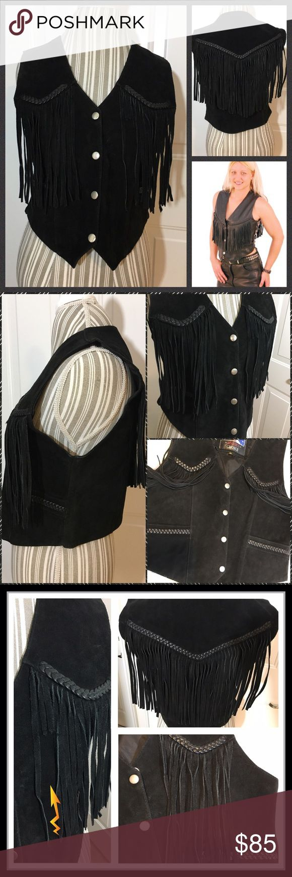 """✨Black Fringed 💯Suede & Leather Vest✨ Incredible 100% Real Suede and Leather Bikers Choice Fringed Vest...awesome fringe on the back and front of Vest with leather cord detail. In super condition...there are 2 strands of fringe that have been cut as seen in pic 3 but have shown in bottom right corner they can't be noticed unless strands laying flat. Measures M but prob fits S best. Measurements flat: top of shoulder to hem 19"""": bottom arm hole to other 18"""": top shoulder to shoulder…"""