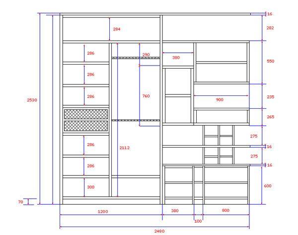 Как построить чертеж Сперва выбирается место расположения шкафа, составляется подробный проект не только с замером общих габаритов, но и с размерами всех, даже мелких деталей. Определяется толщина полок, планируются выдвижные и подвесные элементы, дверцы. Идею для создания предмета мебели можно поискать в каталогах мебели или среди фото готовых гипсокартонных конструкций.
