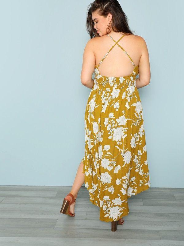 9011cdc0 Floral Asymmetric Hem Dress Sleeve Length: Sleeveless Dresses Length: Long  Silhouette: Shift Pattern