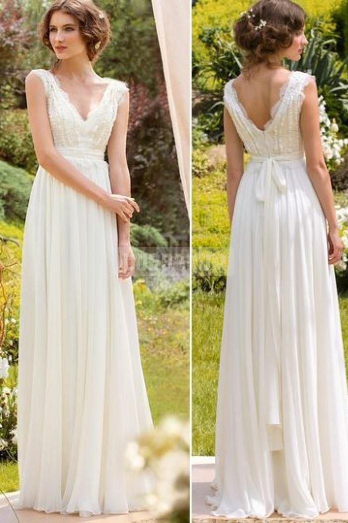 V-neck Chiffon Sleeveless A-line Sash Lace Wedding Dress