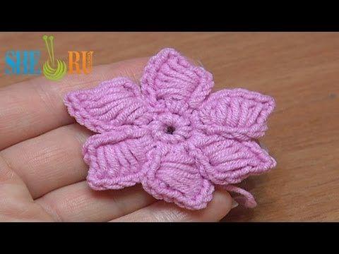 How To Crochet Flowers Thick Petals Tutorial 44 Video Craft DIY +++ Explicacion flores de ganchillo planas delgadas Video Manualidad