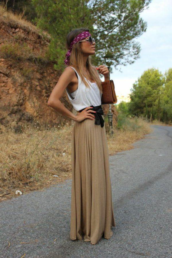 porter une jupe longue beige