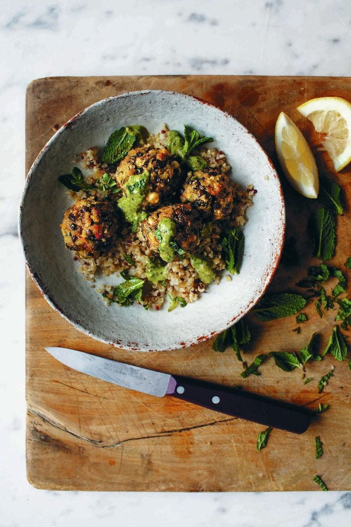 "Mint, Pistachio and Zucchini Balls from ""A Modern Way to Eat"" by Anna Jones. Photo by Brian Ferry."