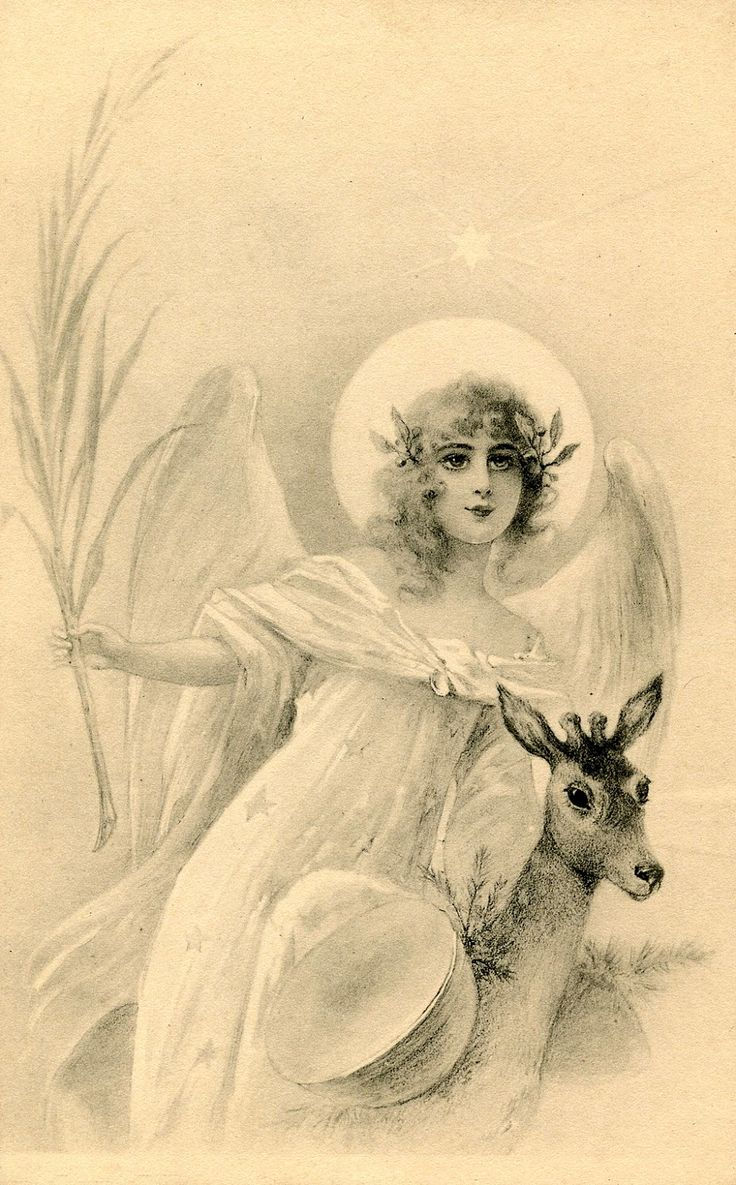 free angel postcard | Free Holiday Image – Lovely Angel with Deer
