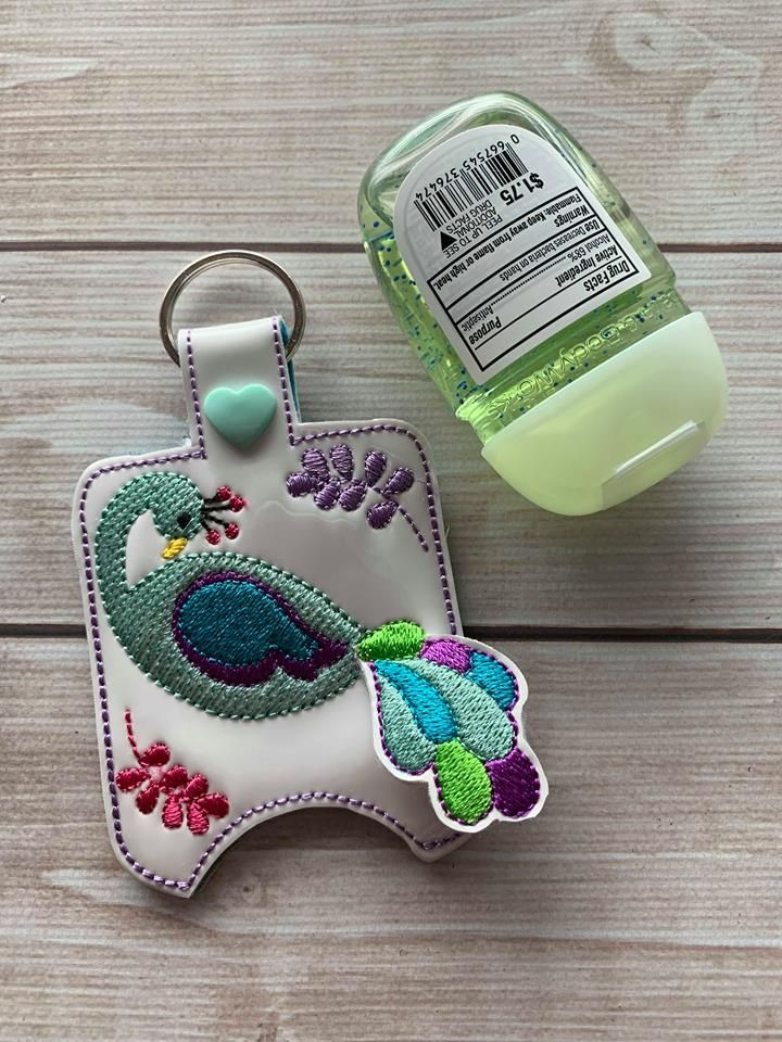 Ith 3d Peacock Sanitizer Holders 4x4 And 5x7 Included Embroidery