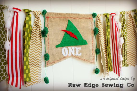 PETER PAN Birthday High Chair Highchair Banner by RawEdgeSewingCo