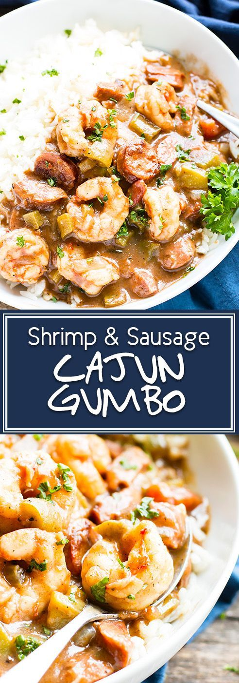 "Cajun Shrimp & Sausage Gumbo | Cajun Shrimp and Sausage Gumbo that is made the authentic way by beginning with a roux, adding the ""holy trinity"", and tossing in andouille sausage and fresh Gulf shrimp.  This gluten-free gumbo recipe is perfect for a Mardi Gras dinner party or enjoying year-round!"